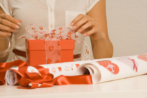 Woman Wrapping Gift